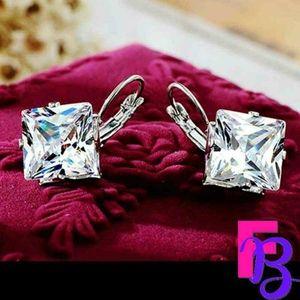 LARGE Rhombus Style CZ Earrings